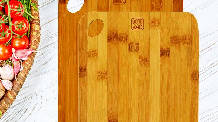 CB1SL: Combo 2 thớt gỗ tre xuất khẩu Funny Chef Cook - Đầu Bếp Vui Vẻ