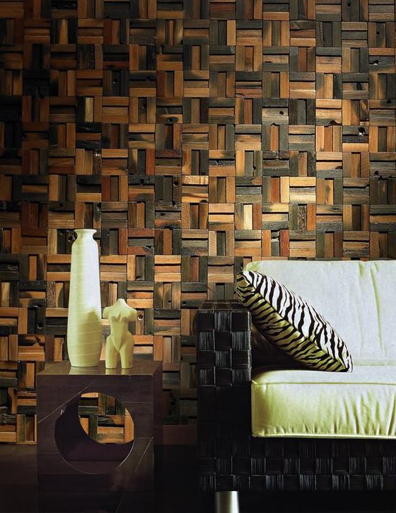 Mẫu gỗ ốp tường mosaic 3D đẹp cho mọi không gian nội thất