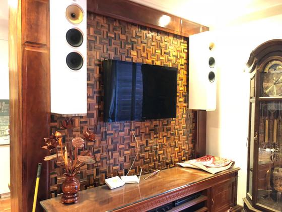Mẫu gỗ ốp tường mosaic 3D đẹp cho không gian tổng thể căn hộ, phòng khách, phòng ngủ căn hộ chung cư