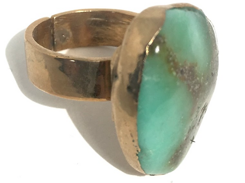 Turquoise Gold Leaf Ring