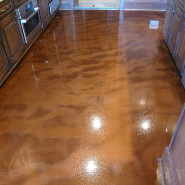 "Metallic Epoxy Floors - Graham, NC - ""Ginger"" Metallic FX Epoxy Flooring in kitchen"