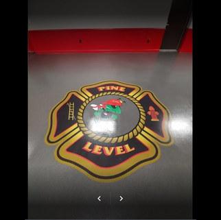 Project:  Self Leveling Double Broadcast Quartz Epoxy Flooring 3D Logo Location:  Pine Level Fire Department Quartz Color:  Timberwolf  October, 2020. Selma, NC