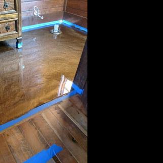 "Metallic Epoxy Floor - Graham, NC - ""Driftwood"" Bathroom"
