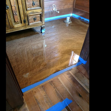 "Metallic Epoxy Floor - Graham, NC - ""Driftwood"" Bathroom"