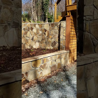 Project:  Stone Porch, Steps, Tiered Retaining Walls, Step Stones Location:  Outdoor-Front and Side of Home Stone:  Crab Orchard Hillsborough, NC March, 2019.