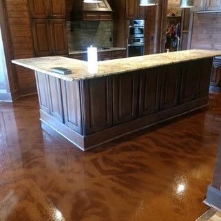 """Metallic Epoxy Floors - Graham, NC - """"Whale"""" in Laundry Room """"Guava"""" in Bathroom """"Ginger"""" in Kitchen and Pantry"""