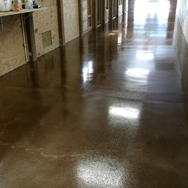 "Stained Concrete Garage - Wilmington, NC - ""Walnut"""