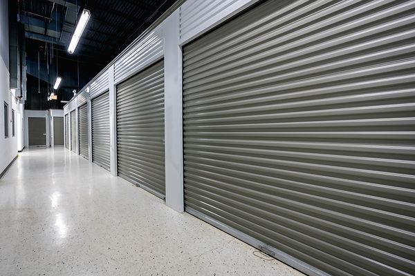 Storage facilities with gray doors. Movi