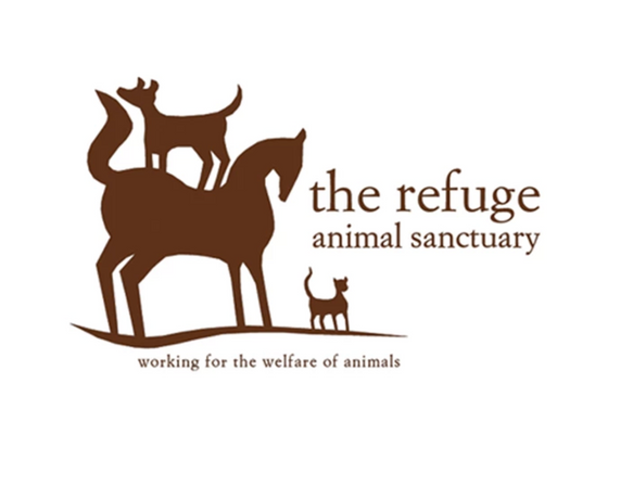 Client: The Refuge Animal Sanctuary  This client insisted on a horse, dog and cat, these are the animals she rescues.  My challenge was to make all the animals look balanced.  I wanted the illustration to have a woodblock look.  This animal sanctuary is based in Mexico, it was important that it represent that art form that is so ingrained in Mexican art.