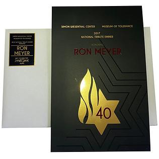 RON MEYER GALA, 2017  creative director + design  print management  event branding & invite package 3 foils, spot uv, die cut + aqueous matte coating