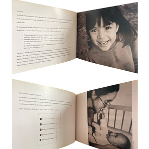 WHOLE CHILD INTERNATIONAL  creative direction + print management,   perfect bound 18 page brochure