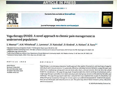 Article in the Press: Yoga therapy DYADS: A novel approach to chronic pain management in underserved populations