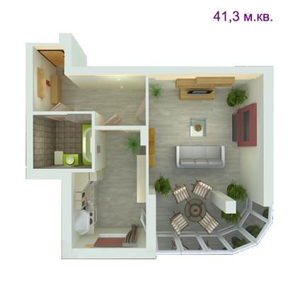 1 комнатная квартира  41.3 м.кв.