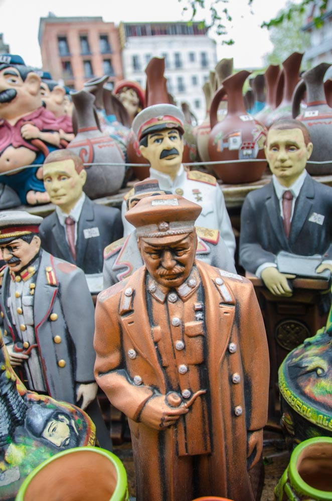 Clay Stalin figures at the flea market in Tbilisi