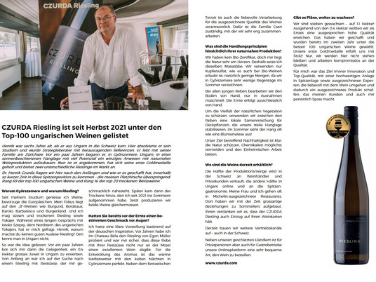 An article about the CZURDA Riesling