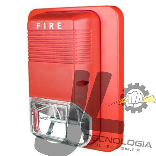 Sirene Audiovisual de Alarme de Incêndio Tensão de 24V com Flashes de Xenon