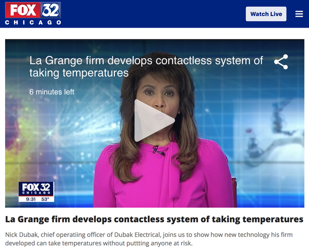 FOX 32- DUTHERMX - Dubak Electrical Group, Duthermx, Body Temperature measurement system, corona virus, covid-19,screen alarms