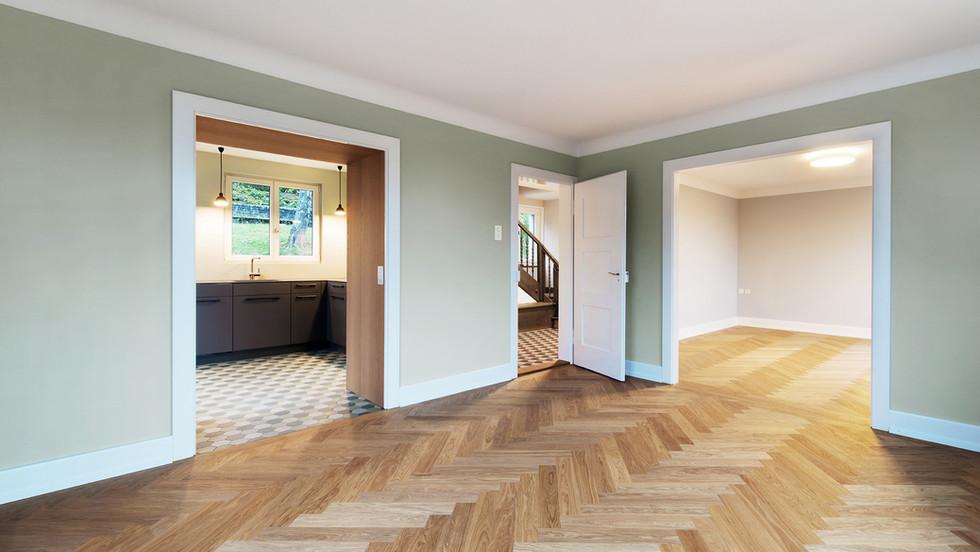 Essbereich mit Blick zu Wohnzimmer und Küche