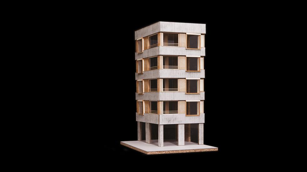 Modellfoto Arbeit Holz und Beton