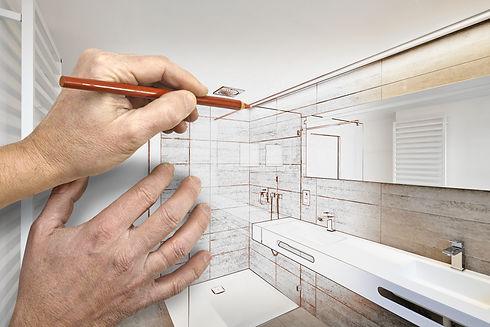 Drawing renovation of a luxury bathroom