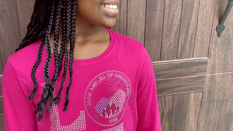 Little Girls Bright Pink Love Bling shirt