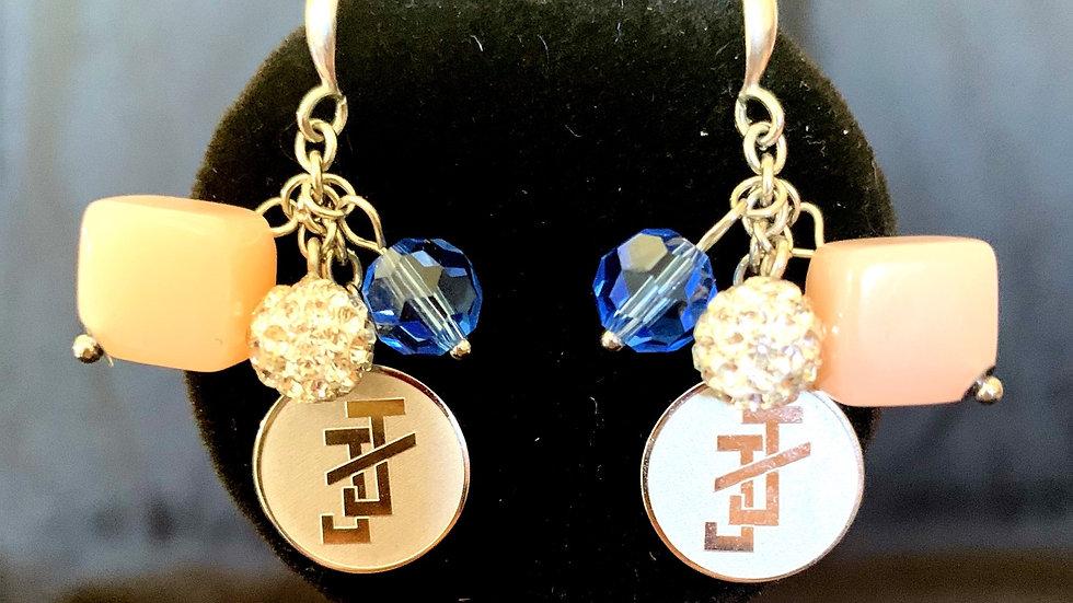 Pink square bead dangle earrings - JJ logo