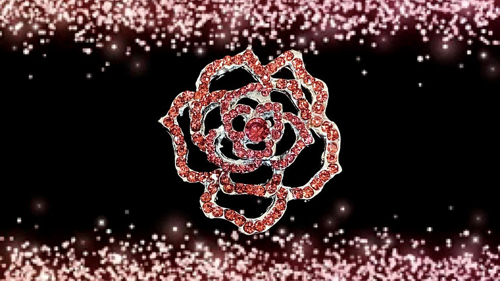 JJOA Pink Rhinestone Rose Brooch