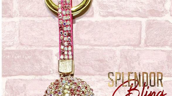 Pink Crystal Ball Keychain