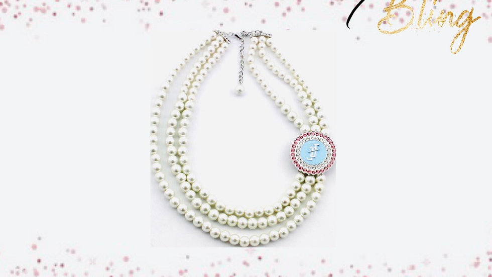 JJOA 3-strand pearl branded necklace