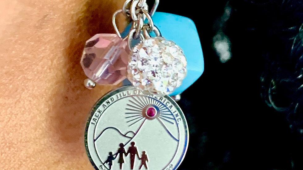 Blue square bead dangle earrings - JJOA logo