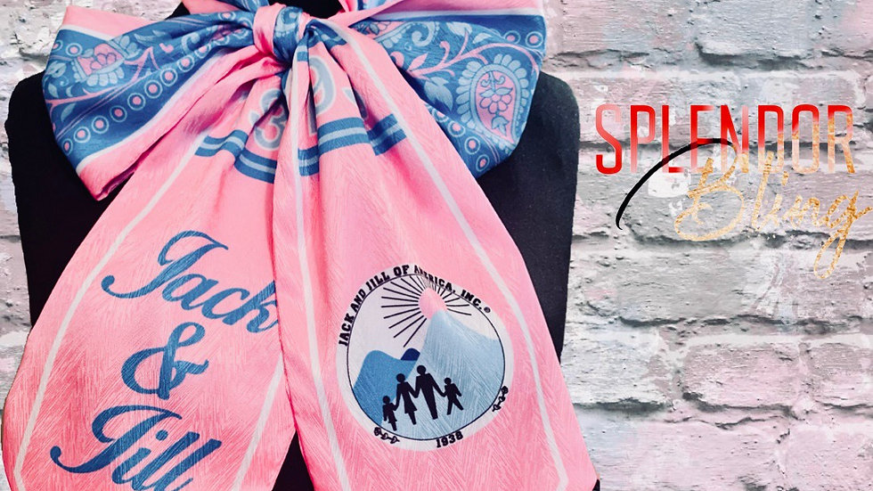 JJOA Pink and Blue Paisley Tie Scarf / Stole