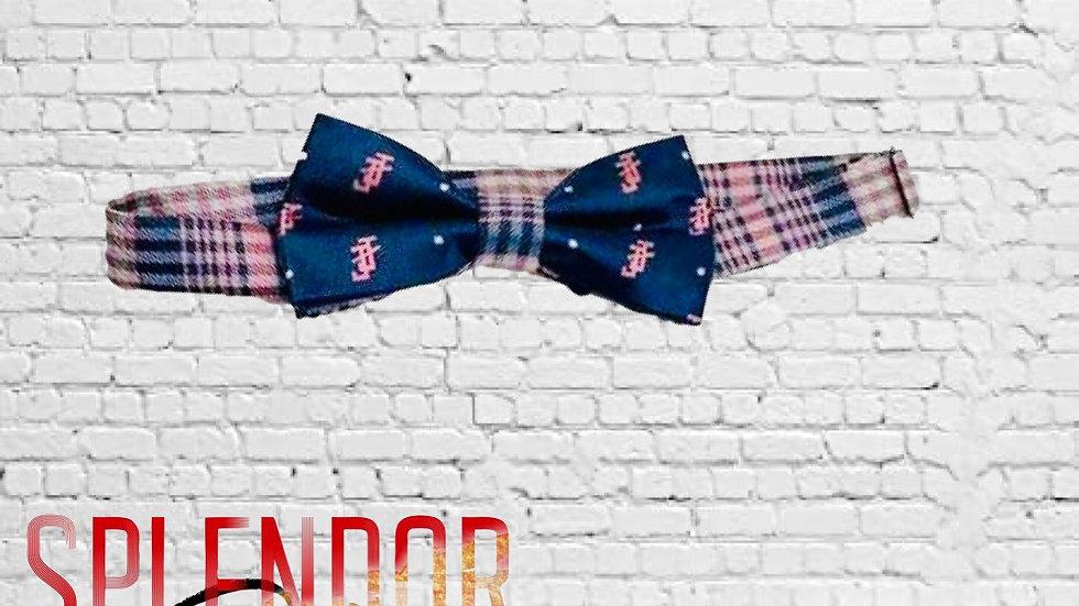 JJOA navy/pink pre-tied men's bow tie