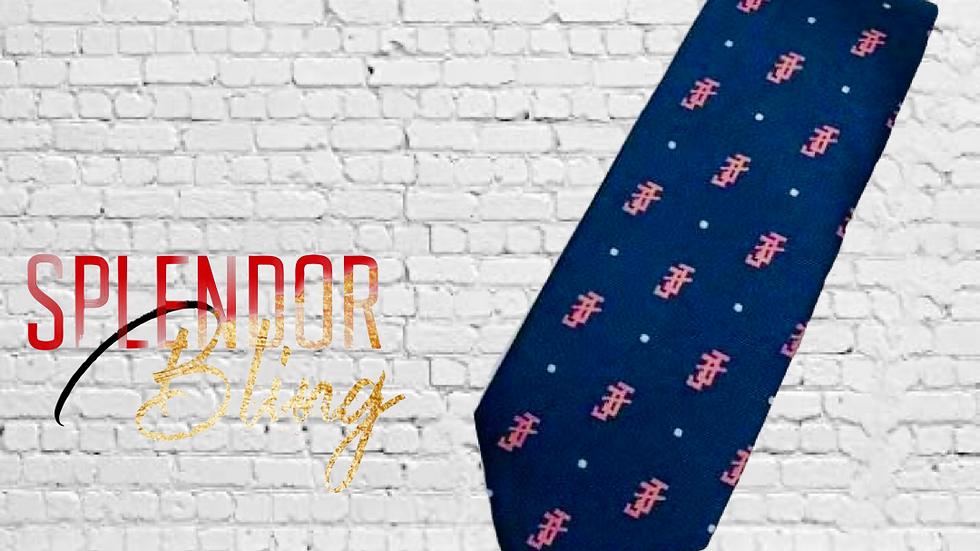 JJOA navy/pink classic men's tie