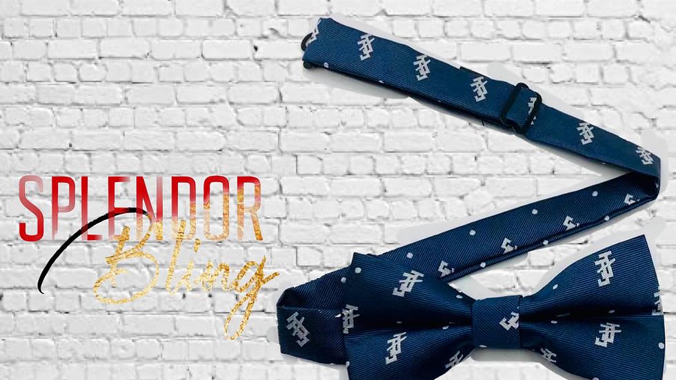 JJOA navy/gray pre-tied men's bow tie