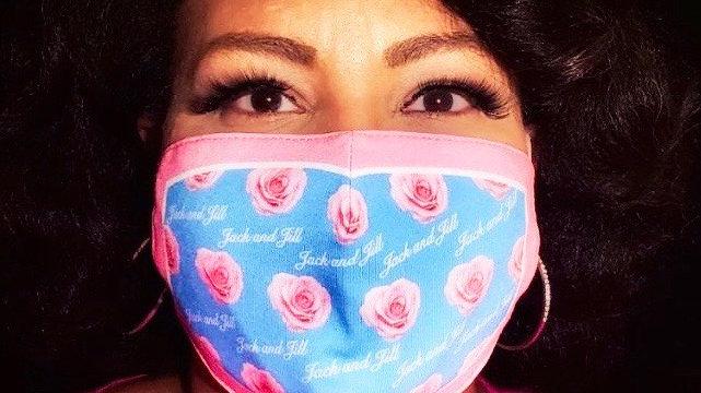 JJOA pink print fabric masks