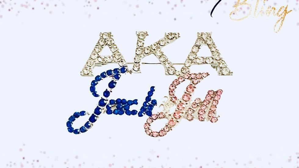 AKA/Jack & Jill Rhinestone Brooch/Pin