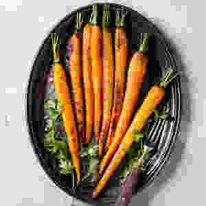 Candied Baby Carrots made with Stonewall Kitchen Orange Cranberry Marmalade