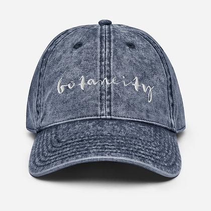 embroidered vintage denim farm hat