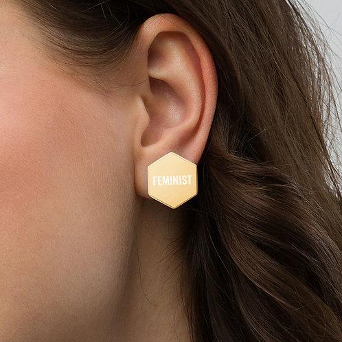 Feminist Hexagon Earrings