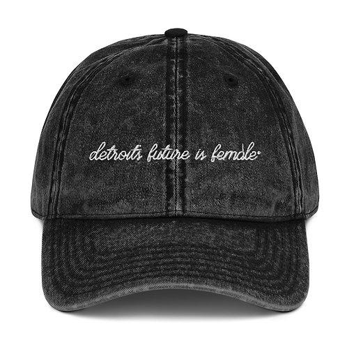 Script Embroidered Vintage Cap