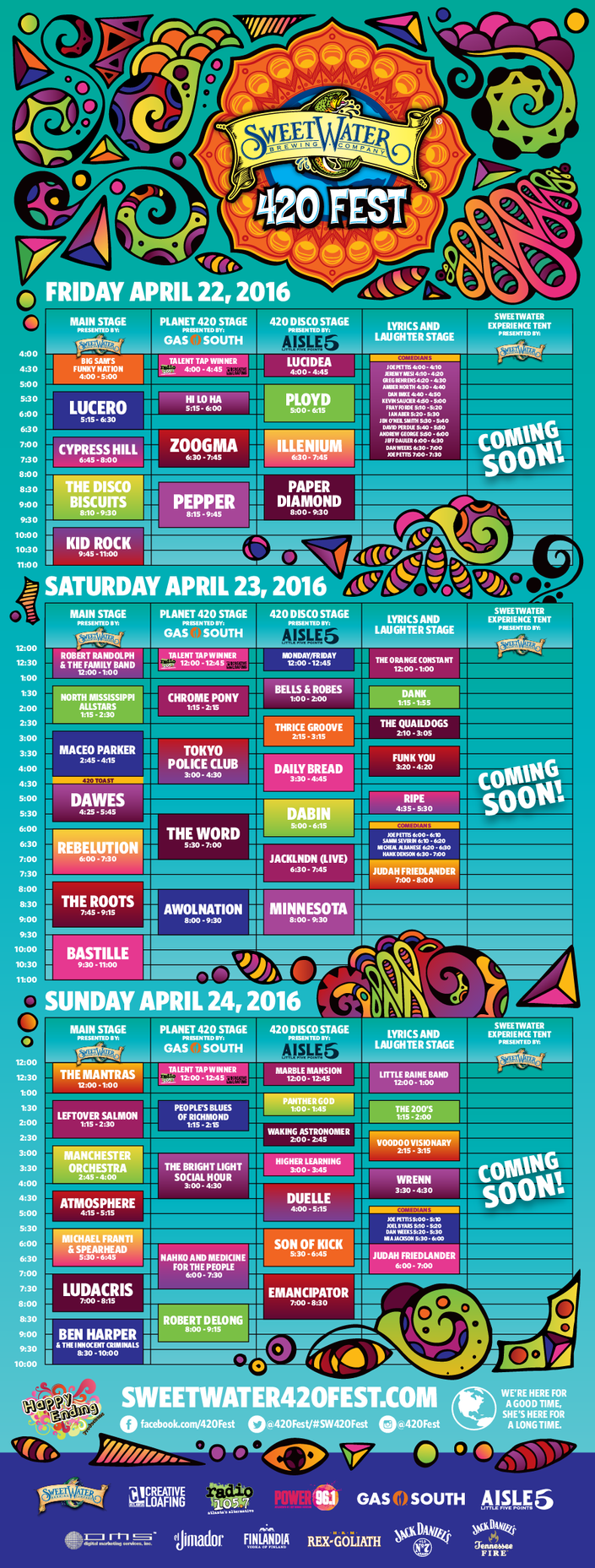 Sweetwater 420 Fest Announces Daily Schedule