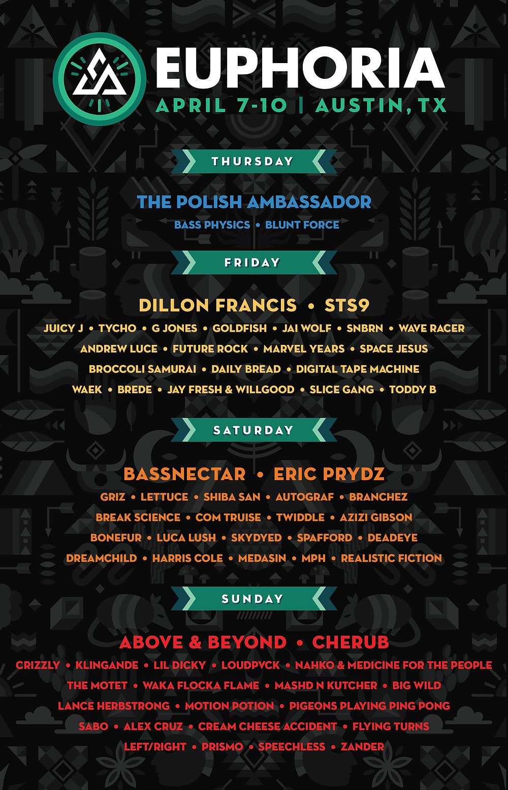 Euphoria Music Festival Daily Lineup