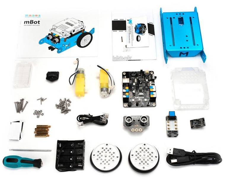The robotic car parts to be assembled and programmed