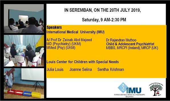 Julia Louis principal at Louis center for special needs, Dr Rajandran Muthoo, International Medical University, Seremban, Autism workshop, awareness, seminar