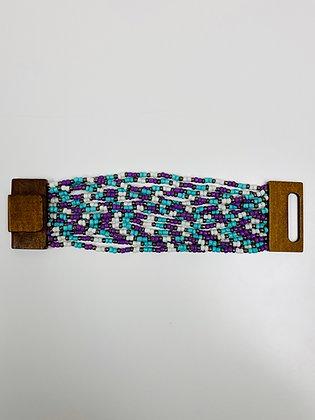 Beaded Bracelet Mulit-Color Teal and Purple