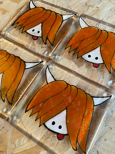 Highland Cow (Coo) Cheeky Glass Coasters Made in Scotland