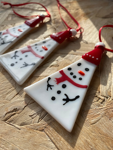 Fused Glass Snowman Decoration for Christmas