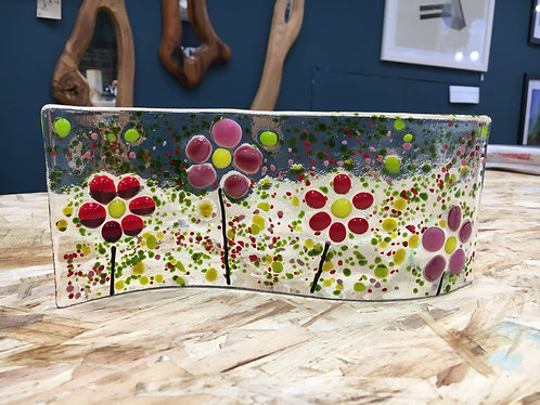 Fused Glass Spring Flower Sun Catcher Flowers Curve Wave