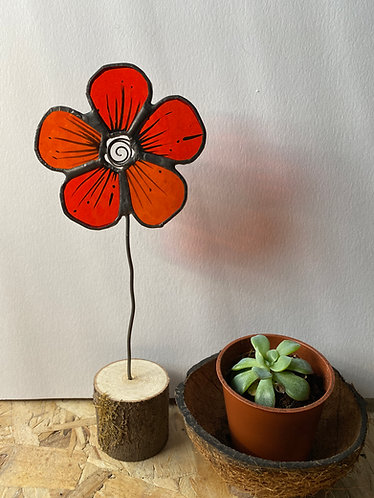 Stained Glass Flower House Plant Stake - Red