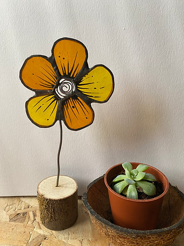 Stained Glass Flower House Plant Stake - Yellow